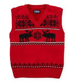 Chaps Boys' 2T-7 Reindeer Sweater Vest