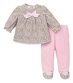 Little Me® Baby Girls' 3-9M Leopard Velour Pants Set
