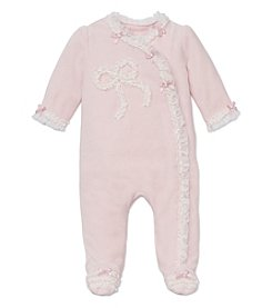 Little Me® Baby Girls' 3-9M Ribbon Bow Velour Footie