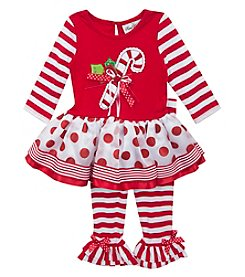Rare Editions® Baby Girls' 12-24M Candy Cane Legging Set
