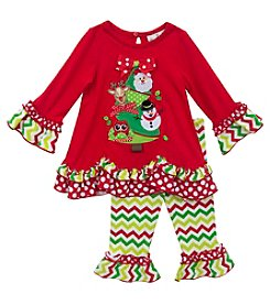 Rare Editions® 12-24M Christmas Tree Legging Set