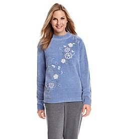 Alfred Dunner® Vienna Chenille Diagonal Floral Sweater