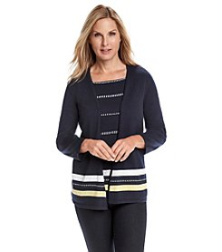 Alfred Dunner® Sausalito Layered Look Border Stripe Sweater
