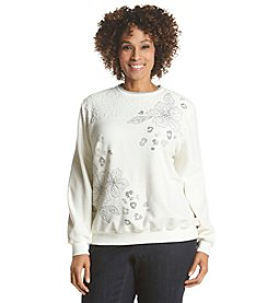 Alfred Dunner® Plus Size Alpine Lodge Embellished Fleece Sweatshirt