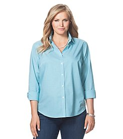 Chaps® Plus Size Mini-Checked Poplin Shirt