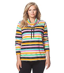 Chaps® Plus Size Striped Interlock Pullover