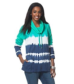 Chaps® Plus Size Tie-Dyed Funnelneck Pullover