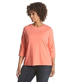 Studio Works&Reg; Plus Size Embellished Crew Neck Tee