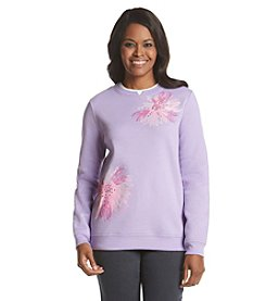 Breckenridge&Reg; Crew Neck Embellished Fleece Sweatshirt