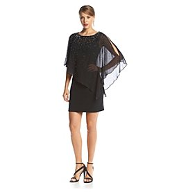 Xscape Beaded Chiffon Overlay Dress