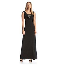 Calvin Klein Beaded V-Neck Gown
