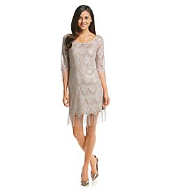 Jessica Simpson Fringe Glitter Lace Dress