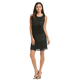 Jessica Simpson Tiered Pleated Chiffon Dress