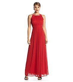 Sangria Beaded Neckline Chiffon Gown