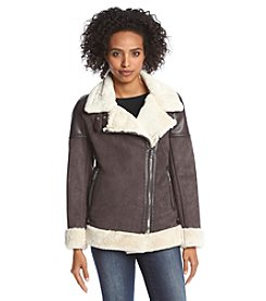 MICHAEL Michael Kors® Asymmetric Zip Front Coat With Sherpa Detail