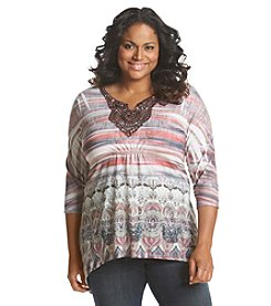 Oneworld® Plus Size Ombre Print Top