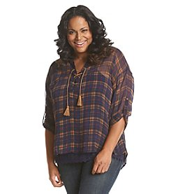 Democracy Plus Size Sheer Plaid Top