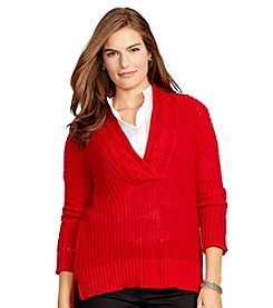 Lauren Ralph Lauren Plus Size Ribbed Cotton Sweater