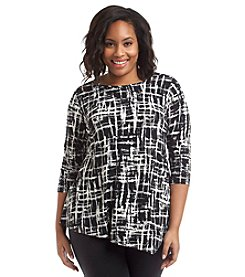 Rafaella® Plus Size Printed Crosshatch Top