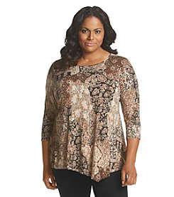 Rafaella® Plus Size Printed Patchwork Tunic