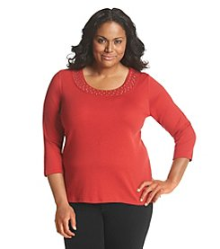 Rafaella® Plus Size Studded Neckline Top