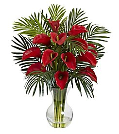 Nearly Natural® Calla Lily & Areca Palm Silk Flower Arrangement