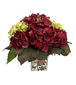 Nearly Natural® Green and Burgundy Hydrangea Arrangement