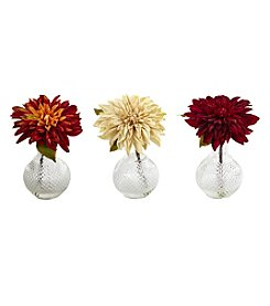Nearly Natural® Set of 3 Dahlia with Decorative Vase