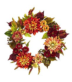 Nearly Natural® Dahlia and Mum Wreath
