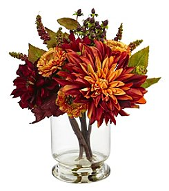 Nearly Natural® Dahlia and Mum with Vase Arrangement