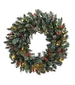Nearly Natural® Pine Wreath with Colored Lights