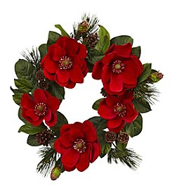 Nearly Natural® Red Magnolia and Pine Wreath