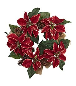 Nearly Natural® Poinsettia, Pine Cone and Burlap Wreath