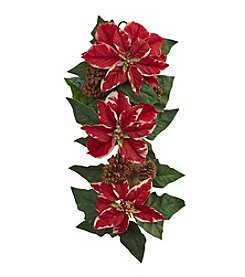Nearly Natural® Poinsettia, Pine Cone and Burlap Teardrop