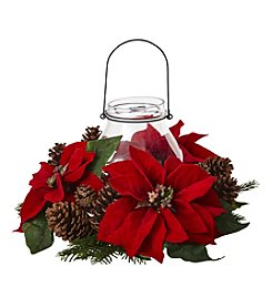 Nearly Natural® Poinsettia Pine and Pinecone Candelabrum