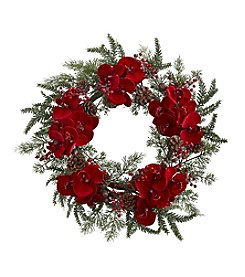 Nearly Natural® Orchid, Berry and Pine Holiday Wreath