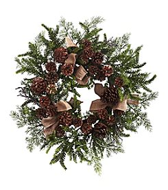 Nearly Natural® Pine and Pinecone Wreath with Burlap Bows