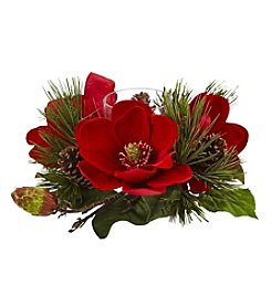 Nearly Natural® Red Magnolia and Pine Candelabrum