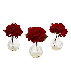 Nearly Natural® Set of 3 Red Hydrangea with Glass Vase