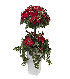 Nearly Natural® Poinsettia Berry Topiary with Decorative Planter