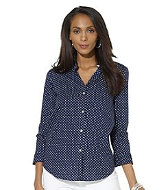 Lauren Ralph Lauren® Three-Quarter-Sleeved Polka-Dot Dress Shirt