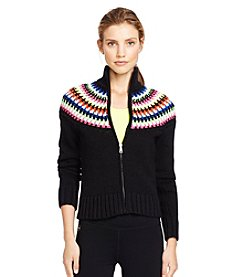 Lauren Active® Crocheted-Yoke Mockneck Jacket