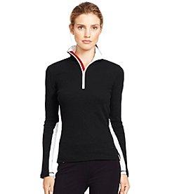 Lauren Active® Waffle-Knit Mockneck Pullover