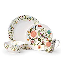 Gourmet Basics by Mikasa Kim Parker Woodland Floral 16-Pc. Porcelain Dinnerware Set
