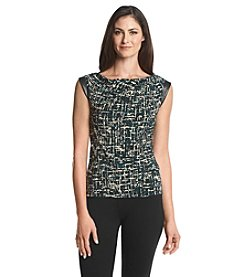 Anne Klein® Printed Cami With Faux Leather Detail