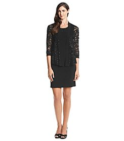 R&M Richards® Embossed Sequin Lace Flyaway Dress