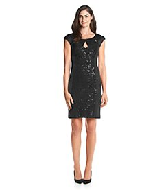 Connected® Cutout Neckline Sequin Dress