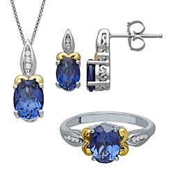 Fine Jewelry White and Blue Sapphire 3-piece Set in Sterling Silver