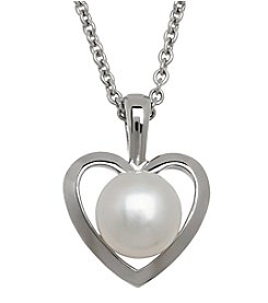 Honora Style® Pearl Heart Pendant in Sterling Silver