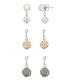 Honora Style® Pearl Button Stud Earrings in Sterling Silver